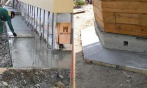 Как сделать бетонную отмостку – пошаговая инструкция, от приготовления раствора, до заливки бетона